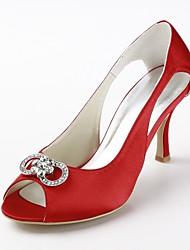 Women's Shoes Silk Stiletto Heel Heels / Peep Toe Heels Wedding / Party & Evening / Dress Red
