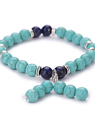 Natural Stone Turquoise Blue Matte Bracelet Hand String Of Prayer Beads Elephant Bracelets  #YMGS1028