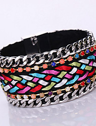 Women European Style Fashion Simple Metal Shiny Magnet Alloy Buckle Bracelet