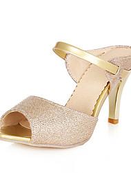 Feminino-Sandálias-Chanel-Salto Cone-Branco Dourado-Courino-Social Casual
