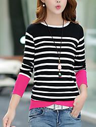 Damen Standard Pullover-Lässig/Alltäglich Einfach Gestreift Schwarz Orange Rundhalsausschnitt Langarm Baumwolle Herbst Mittel Dehnbar