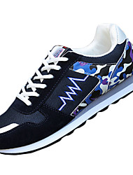 Men's Shoes PU / Fabric Casual Sneakers /Casual Sneaker Flat Heel Others / Split Joint / Lace-up Blue / Red / Gray