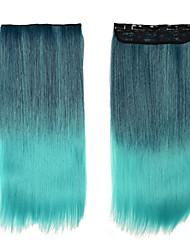 extensões de cabelo sythetic única 1Pcs clipe no cabelo extensões mulheres cabelo cabeça cheia de cabelo ombre 11og / reto longo pcs