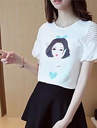 Women's Casual/Daily Cute Summer T-shirt,Print Round Neck Short Sleeve White Cotton Thin