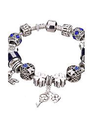 Feminino Meninas´ Pulseiras com Pendentes Bracelete Pulseiras Strand Pulseiras Prata Strass Prata Chapeada Liga Durável Moda Adorável