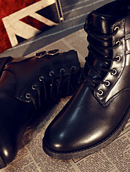 Men's Boots Fall / Winter Combat Boots PU Casual Wedge Heel Lace-up Black / Brown Walking