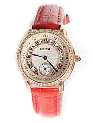 reloj de cuarzo de la venda de cuero de la manera ocasional de las mujeres