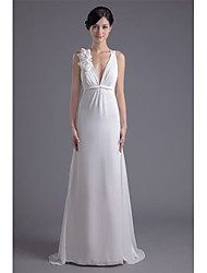 Sheath / Column Wedding Dress Beautiful Back Sweep / Brush Train V-neck Chiffon with Flower