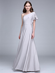 LAN TING BRIDE Floor-length One Shoulder Bridesmaid Dress - Elegant Sleeveless Jersey