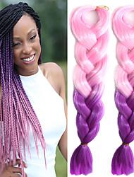 "Light Pink Ombre Light Purple Crochet 24"" Yaki Kanekalon Fiber 100g 2 Tone Jumbo Braids Synthetic Hair"