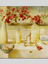 Peint à la main A fleurs/Botanique Peintures à l'huile,Méditerranéen / Pastoral / Style européen / Modern / Classique / Traditionnel /