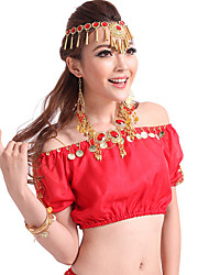 Belly Dance Tops Women's Performance Chiffon Beading 1 PieceBlack / Blue / Dark  / Sky