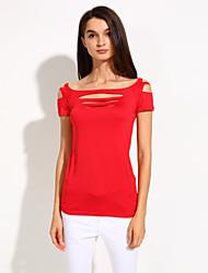 Damen Solide Sexy Klub T-shirt,U-Ausschnitt Sommer Kurzarm Blau / Rot / Schwarz / Grau / Lila Polyester / Elasthan Dünn
