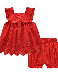 New Summer Infant Girls Red Cotton Hollow Skirt Suit
