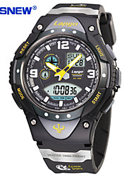 PASNEW Men's Sport Watch LED Stopwatch Noctilucent Moon Phase Digital PU Band Black