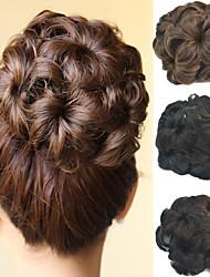 casamento bridal updo flor chignon bun clipe extensões de cabelo sintéticos culry mais cores