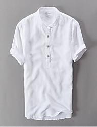 Men's Casual/Daily Work Summer Shirt,Solid Short Sleeve Linen