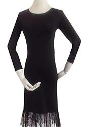 Robes(Noire,Elasthanne,Danse de Salon)Danse de Salon- pourFemme Frange (s) Spectacle Danse de Salon Taille moyenne