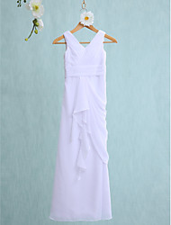 Lanting Bride® Floor-length Chiffon Junior Bridesmaid Dress Sheath / Column V-neck with Cascading Ruffles / Ruching