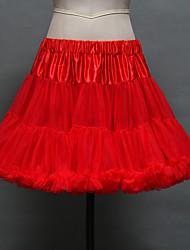 Anáguas Slip de Baile Comprimento Curto 2 Rede Tule Acrílico Branco Preto Vermelho