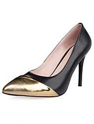 Women's Shoes Cowhide Summer / Pointed Toe Heels Office & Career / Casual Stiletto Heel Split Joint Black / White