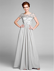 Lanting Bride® Sheath / Column Mother of the Bride Dress Floor-length Short Sleeve Chiffon with Crystal Detailing / Pleats