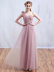 2017 soirée formelle robe rose bonbon une ligne une épaule-parole longueur tulle