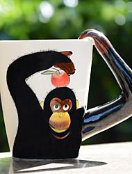 1pc 400ml de banda desenhada 3d animais pintados à mão café caneca copo de leite de cerâmica design aleatório