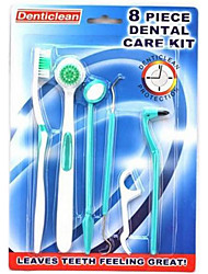 TOOTH BRUSH DENTAL CARE KIT Toothbrush FLOSS Clean Mouth Hygiene 8 Tools Set(Random Colors)
