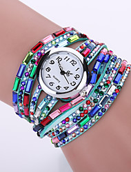 Women's Acrylic Rhinestone PU Leather Band White Case Analog Quartz Bracelet Fashion Watch