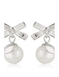 Women's Boutique Fashion Elegant Sweet Bow Pearl Stud Earrings