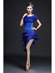 Dança Latina Vestidos Mulheres Actuação Fibra de Leite Borla(s) 2 Peças Manga Curta Alto Vestidos / Tanga M=85CM;L=90CM;XL=95CM