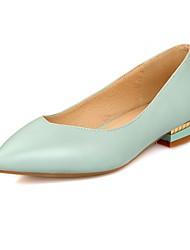Women's Heels Summer Comfort PU Office & Career Casual Low Heel Imitation Pearl Black Blue Pink White