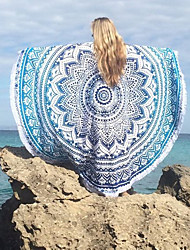 Women's Round Cover-Up,Tassels / Floral Cotton / Polyester Purple / Green / Black / Dark Blue / Light Blue