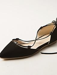 женская обувь плоский каблук комфорт / Ремешки / остроконечные сандалии пальца ноги платье / вскользь черный / серый