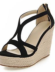 Women's Shoes  Wedge Heel Wedges / Peep Toe / Platform / Open Toe Sandals Casual Black / Red / Almond