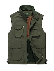 Men's Sleeveless Casual Jacket,Nylon Patchwork Green / Yellow