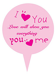 Lovely Pink 25*35mm I Love You Paper Cake Insert Card-CP03(100Pcs/Set)(2 Set)