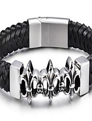 Lederen armbanden 1 stuks,Modieus Kruisvorm Zwart Leder Sieraden Gifts