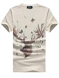 Print-Informeel / Grote maten-Heren-Katoen / Spandex-T-shirt-Korte mouw Beige