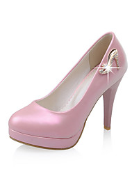 Women's Shoes PU Summer / Fall Heels / Round Toe Office & Career / Casual Stiletto Heel Sparkling Glitter Pink / Red / White