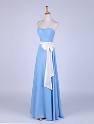 Formal Evening Dress Sheath / Column Sweetheart Floor-length Chiffon with Bow(s) / Criss Cross