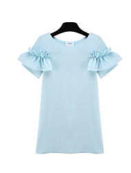 Women's Going out Simple A Line Dress,Solid Round Neck Mini Short Sleeve Blue / White Linen Summer