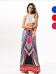 In Colour Women's Slash Neck Sleeveless Knee-length Skirt-533212843024