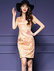 Women's Street chic Embroidered Plus Size / Bodycon Dress,Round Neck Above Knee Polyester