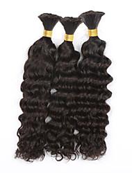"3pcs/lot Deep Curly Bulk Hair 12""-28""Brazilian Human Bulk for Braiding no Attachment Deep Wave Human Braiding Hair Bulk"