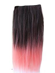 Clipe de 26 polegadas em cor de rosa extensões de cabelo sintético preto em linha reta com 5 clipes