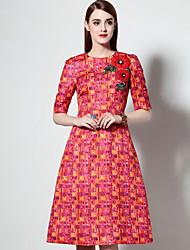 Boutique S Women's Formal Vintage A Line Dress,Print Round Neck Knee-length Red Cotton / Polyester Spring
