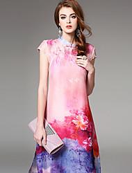 Ewheat® Mujer Escote Chino Manga Corta Sobre la Rodilla Vestidos-H2475