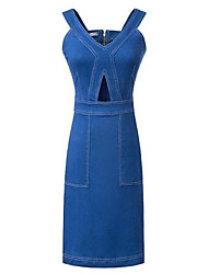 Women's Simple / Street chic Solid Slim Cut Out Classic Sheath / Denim Dress,Strap Above Knee